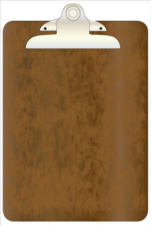 clipboard isolated: Worn clipboard isolated on white  Illustration