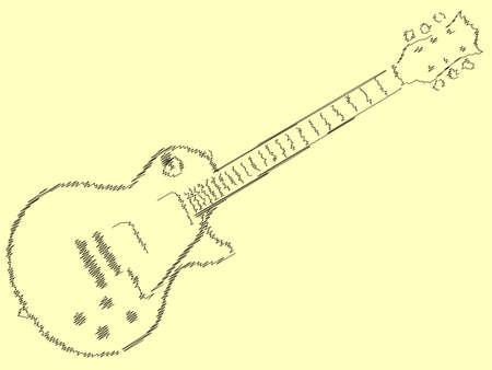 pickups: Il rock and roll chitarra definitiva in nero stile schizzo Vettoriali