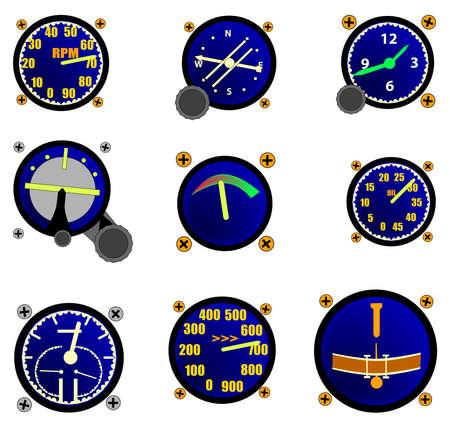 A random selection of aircraft gauges  Illustration