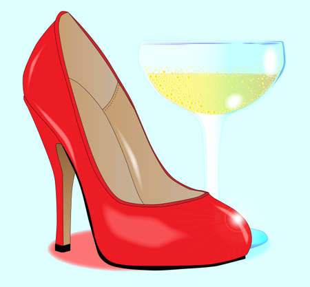 A red stiletto heal show by a glass of champagne  Vector
