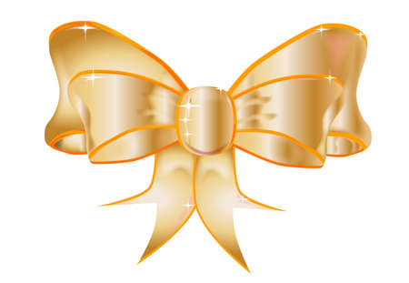 A large silk bow with a  few sparkles set on a white background Vector