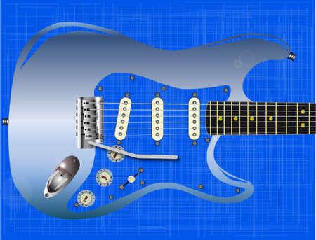 pickups: Una chitarra rock blu contro uno sfondo blu grunge