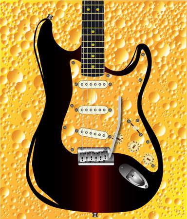 pickups: Uno sfondo bolla cola patern con una chitarra rock sovrapposto Vettoriali