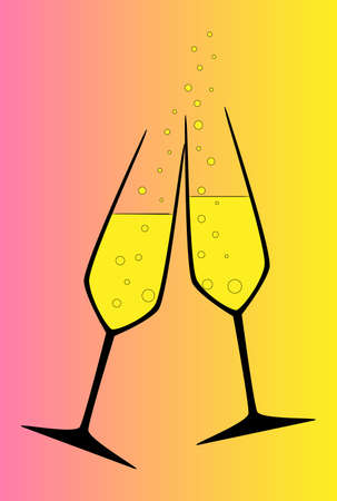 clinking: Two champagne glasses clinking in a toast
