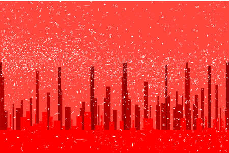 A red cityscape background with snow