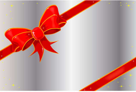 adorned: A silver card adorned with a silk satin ribbon with sparkles
