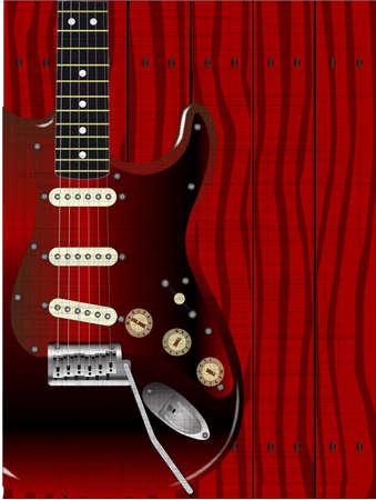 エレク トリック ギターの背景として木製の穀物とグランジ効果を示す木製の板の塀 写真素材 - 23902133