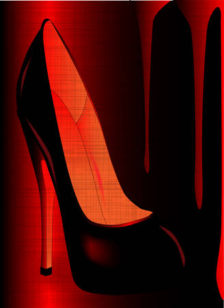 A tall stiletto heal shoe set in a grunge background Vector