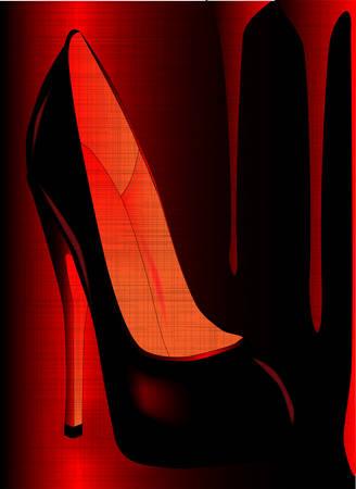 heals: A tall stiletto heal shoe set in a grunge background