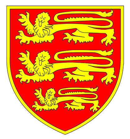 The traditional three lions British shield over a white background  Vector