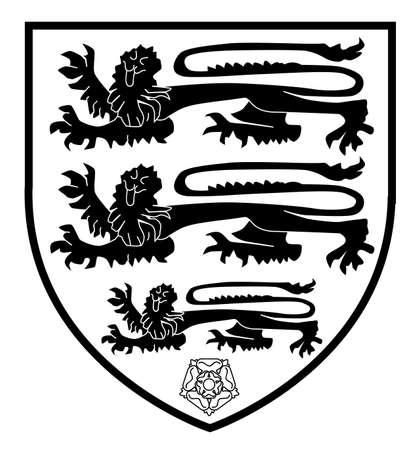 rose blanche: Les trois lions bouclier britannique traditionnelle avec le blanc rouge et rose - noir et blanc