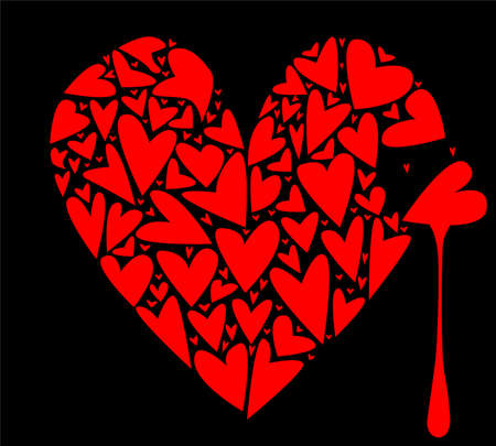 A large heart made up of several smaller hearts against a black background with a tear of blood  Vector