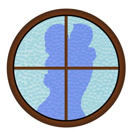 A kissing couple through a round window Vector