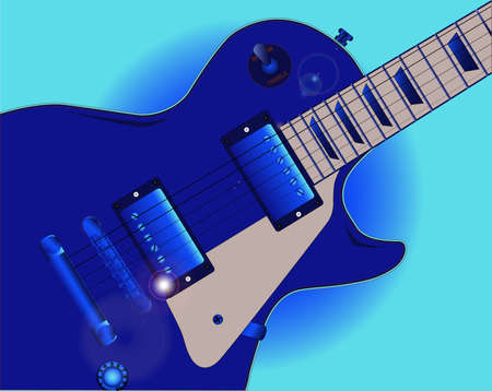 gibson: Close up of the definitive blues electric guitar in blue