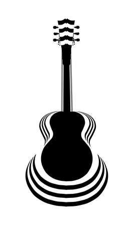 hollow body: Traditional guitar shape silhouettes cut out on black and white paper layers