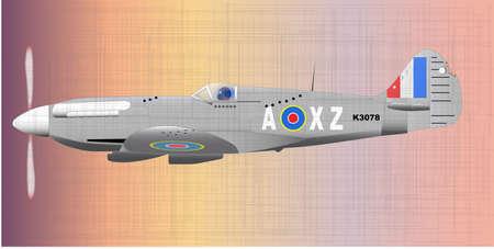 flack: A Supermarine World War II Spitfire Mark XIV  fighter plane returning from patrol with flack and machine gun dmage