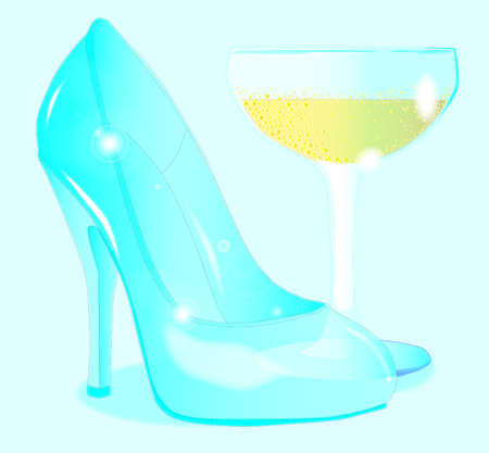 heals: A glass stiletto heal shown by a glass of champagne  Illustration