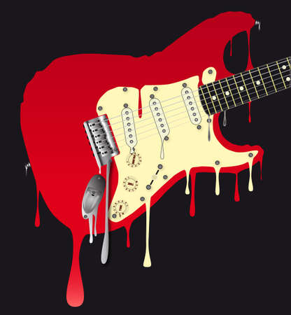 A traditional rock guitar melting down Vector