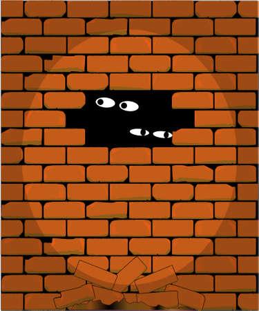prison break: A spotlight playing against a prison wall  Illustration