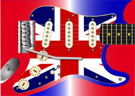 stratocaster: A traditional solid body electric guitar with a Union Jack scratchplate and red white and blue body colour  Illustration
