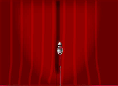 spotlit: A microphone ready on stage against a red curtain