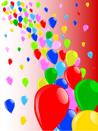 Multi coloured balloons flying away into the sky Vector