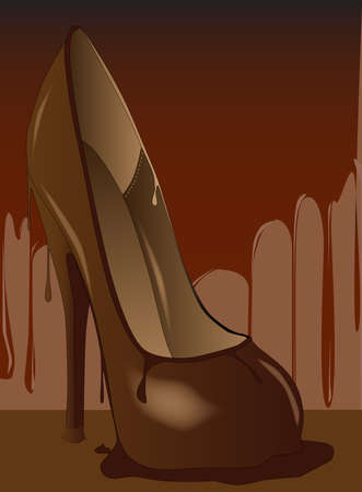 A tall stiletto heal shoe made from chocolate, and melting  Vector