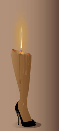 heals: A ladies leg as a candle Illustration