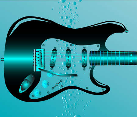 submerged: An electric guitar submerged in water with air bubbles rising