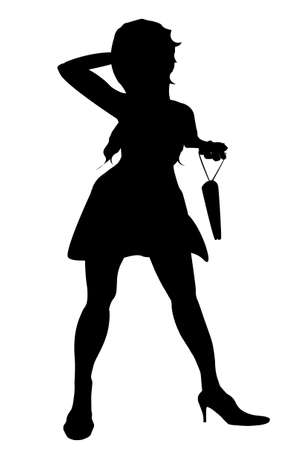 carrier bag: Silhouette of a woman shopper with carrier bag