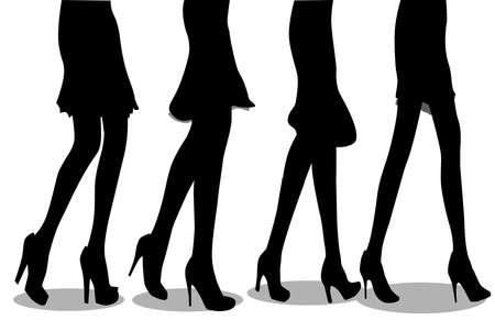 piernas de mujer: Una colecci�n de las piernas femeninas caminando hacia las ventas Vectores