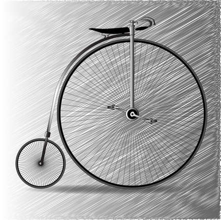 A typical penny farthing bicycle over a scribble  Illustration