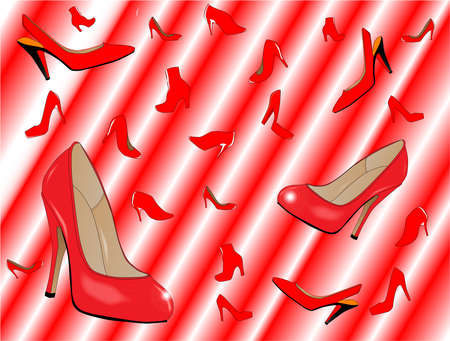 heals: A downpour of red ladies shoes over a red and white