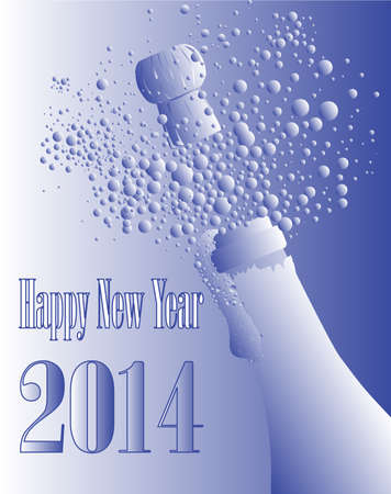 New Year champagne bottle being opened with froth and bubbles Stock Vector - 24167577