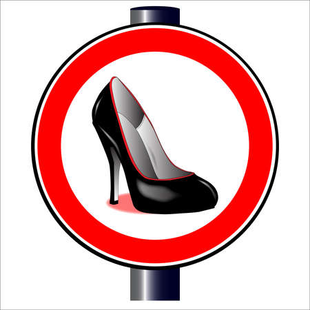 spoof: A large round red traffic displaying a stiletto heal shoe