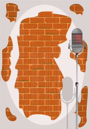 A microphone ready on stage against a brick wall Stock Vector - 24182253