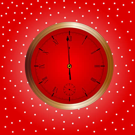 A Christmas and New Year clock showing almost midnight  Illustration