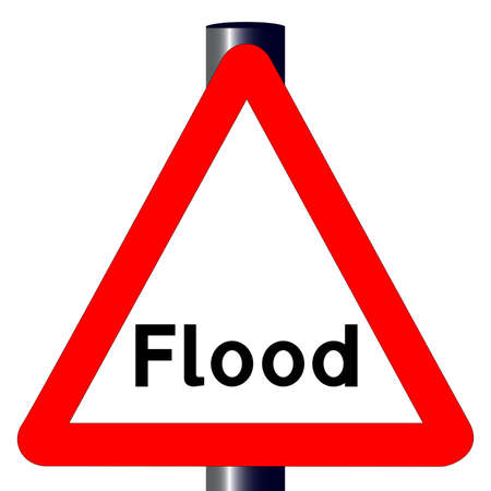 The traditional  FLOOD  triangle, traffic sign isolated on a white Stock Vector - 24250171