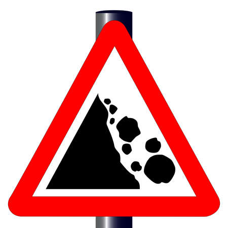 landslide: The traditional  DANGER FALLING ROCKS  triangle, traffic sign isolated on a white background