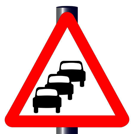queuing: The traditional  QUEUING  triangle, traffic sign isolated on a white background   Illustration