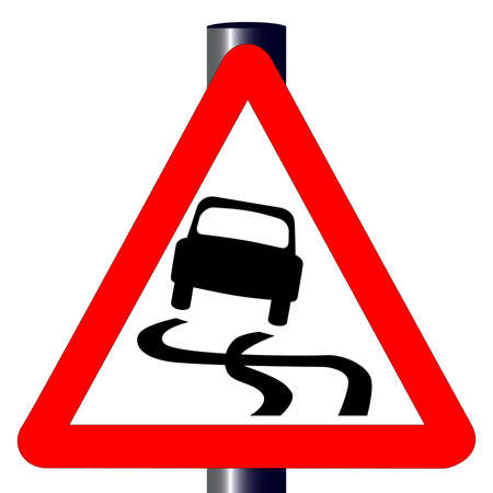 skidding: The traditional  SKIDDING  triangle, traffic sign isolated on a white background