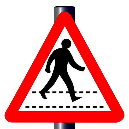 The traditional  PEDESTRIAN  triangle, traffic sign isolated on a white background Stock Vector - 24250177