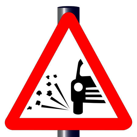 paint chipping: The traditional  STONE CHIPPING WARNING  triangle, traffic sign isolated on a white background