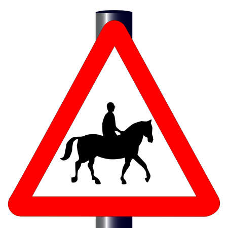 The traditional  HORSE AND RIDER  triangle, traffic sign isolated on a white background   Stock Vector - 24250179