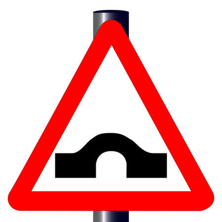 hump: The traditional  HUMP BACK BRIDGE  triangle, traffic sign isolated on a white background