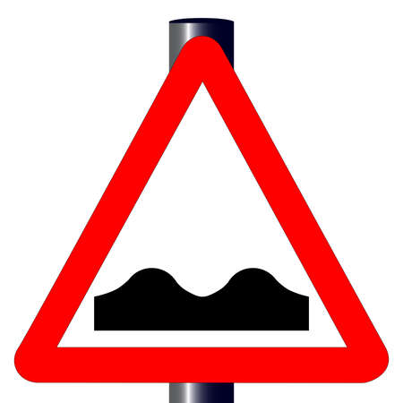 The traditional  UNEVEN ROAD  triangle, traffic sign isolated on a white background