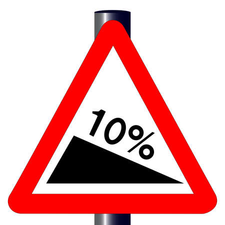 incline: The traditional  10  INCLINE  triangle, traffic sign isolated on a white background   Illustration
