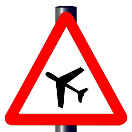 The traditional  LOW FLYING AIRCRAFT sign isolated on a white background Stock Vector - 24250184