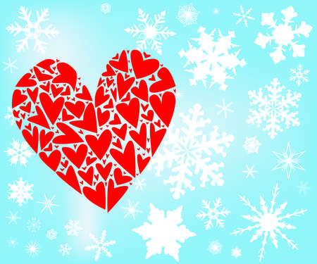 A large red love heart surrounded with falling snowflakes