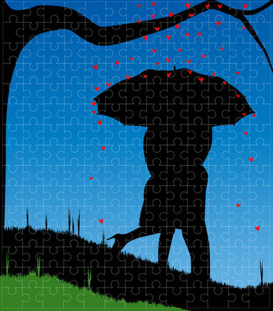 A courting couple, silhouette, kissing under an umbrella, during a downpour of red cupids hearts set into a jigsaw frame  Vector